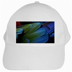 Feather Parrot Colorful Metalic White Cap