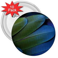 Feather Parrot Colorful Metalic 3  Buttons (10 Pack)