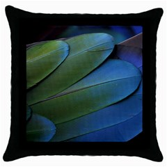 Feather Parrot Colorful Metalic Throw Pillow Case (black)