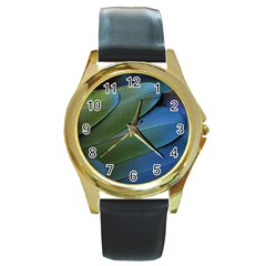Feather Parrot Colorful Metalic Round Gold Metal Watch