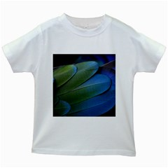 Feather Parrot Colorful Metalic Kids White T Shirts