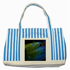 Feather Parrot Colorful Metalic Striped Blue Tote Bag