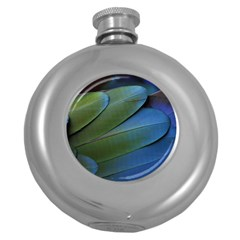 Feather Parrot Colorful Metalic Round Hip Flask (5 Oz)