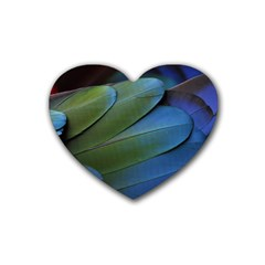 Feather Parrot Colorful Metalic Heart Coaster (4 Pack)