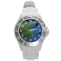 Feather Parrot Colorful Metalic Round Plastic Sport Watch (l)