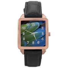 Feather Parrot Colorful Metalic Rose Gold Leather Watch