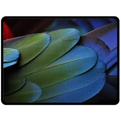 Feather Parrot Colorful Metalic Double Sided Fleece Blanket (large)