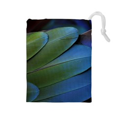 Feather Parrot Colorful Metalic Drawstring Pouches (large)