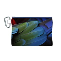 Feather Parrot Colorful Metalic Canvas Cosmetic Bag (m)