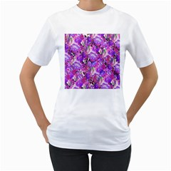 Flowers Abstract Digital Art Women s T Shirt (white) (two Sided)