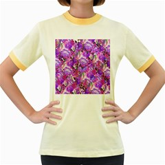 Flowers Abstract Digital Art Women s Fitted Ringer T Shirts