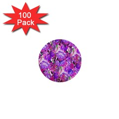 Flowers Abstract Digital Art 1  Mini Buttons (100 Pack)