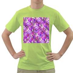 Flowers Abstract Digital Art Green T Shirt