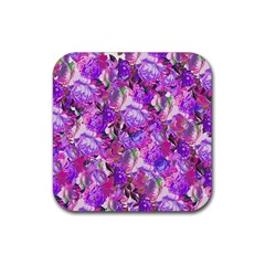 Flowers Abstract Digital Art Rubber Coaster (square)