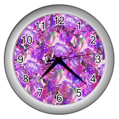Flowers Abstract Digital Art Wall Clocks (silver)