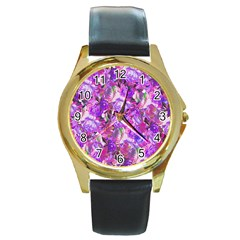 Flowers Abstract Digital Art Round Gold Metal Watch