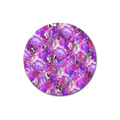 Flowers Abstract Digital Art Magnet 3  (round)