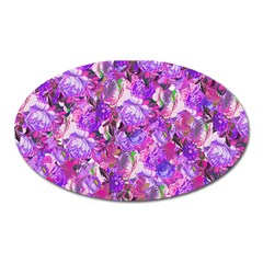 Flowers Abstract Digital Art Oval Magnet