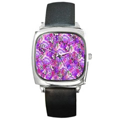 Flowers Abstract Digital Art Square Metal Watch