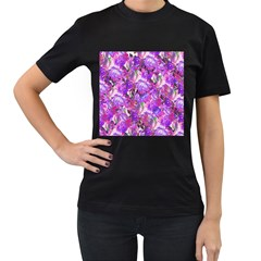 Flowers Abstract Digital Art Women s T Shirt (black) (two Sided)