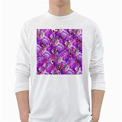 Flowers Abstract Digital Art White Long Sleeve T Shirts