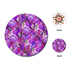 Flowers Abstract Digital Art Playing Cards (round)