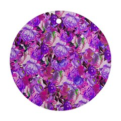Flowers Abstract Digital Art Round Ornament (two Sides)
