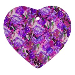 Flowers Abstract Digital Art Heart Ornament (two Sides)