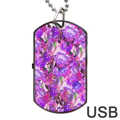 Flowers Abstract Digital Art Dog Tag Usb Flash (one Side)