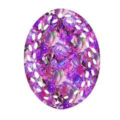 Flowers Abstract Digital Art Oval Filigree Ornament (Two Sides)