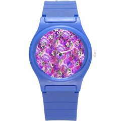 Flowers Abstract Digital Art Round Plastic Sport Watch (s)