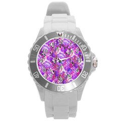 Flowers Abstract Digital Art Round Plastic Sport Watch (l)