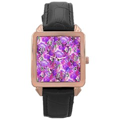 Flowers Abstract Digital Art Rose Gold Leather Watch