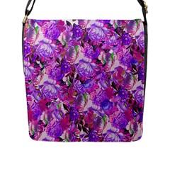 Flowers Abstract Digital Art Flap Messenger Bag (l)