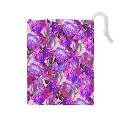 Flowers Abstract Digital Art Drawstring Pouches (large)