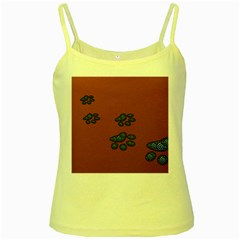 Footprints Paw Animal Track Foot Yellow Spaghetti Tank