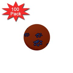 Footprints Paw Animal Track Foot 1  Mini Buttons (100 Pack)