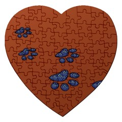 Footprints Paw Animal Track Foot Jigsaw Puzzle (heart)