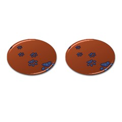 Footprints Paw Animal Track Foot Cufflinks (oval)