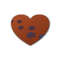 Footprints Paw Animal Track Foot Rubber Coaster (heart)
