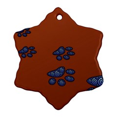 Footprints Paw Animal Track Foot Snowflake Ornament (two Sides)