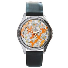 Flowers Background Backdrop Floral Round Metal Watch