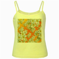 Flowers Background Backdrop Floral Yellow Spaghetti Tank