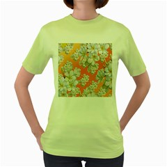 Flowers Background Backdrop Floral Women s Green T Shirt