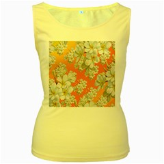 Flowers Background Backdrop Floral Women s Yellow Tank Top
