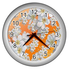 Flowers Background Backdrop Floral Wall Clocks (silver)