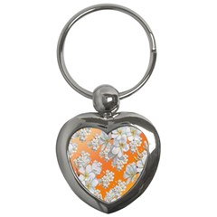 Flowers Background Backdrop Floral Key Chains (heart)