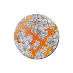 Flowers Background Backdrop Floral Rubber Coaster (round)