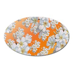 Flowers Background Backdrop Floral Oval Magnet