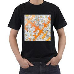 Flowers Background Backdrop Floral Men s T Shirt (black) (two Sided)
